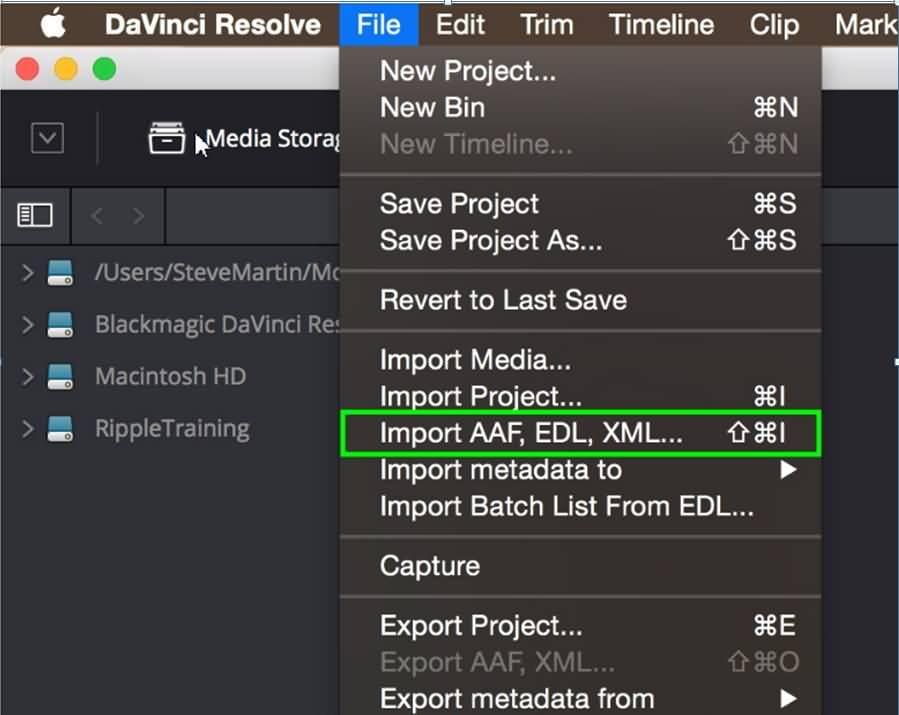 XML in Resolve importieren