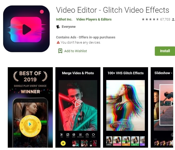 InShot Video Editor - Glitch Video Effects