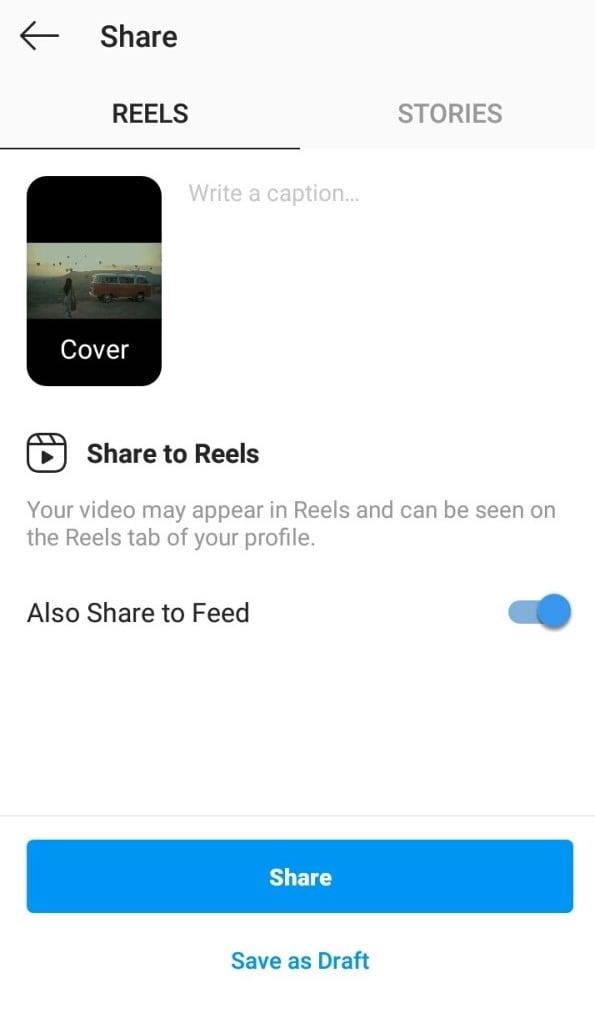compartir en Instagram Reel