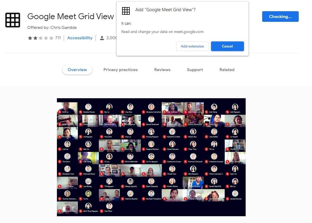 Google Meet view all extension
