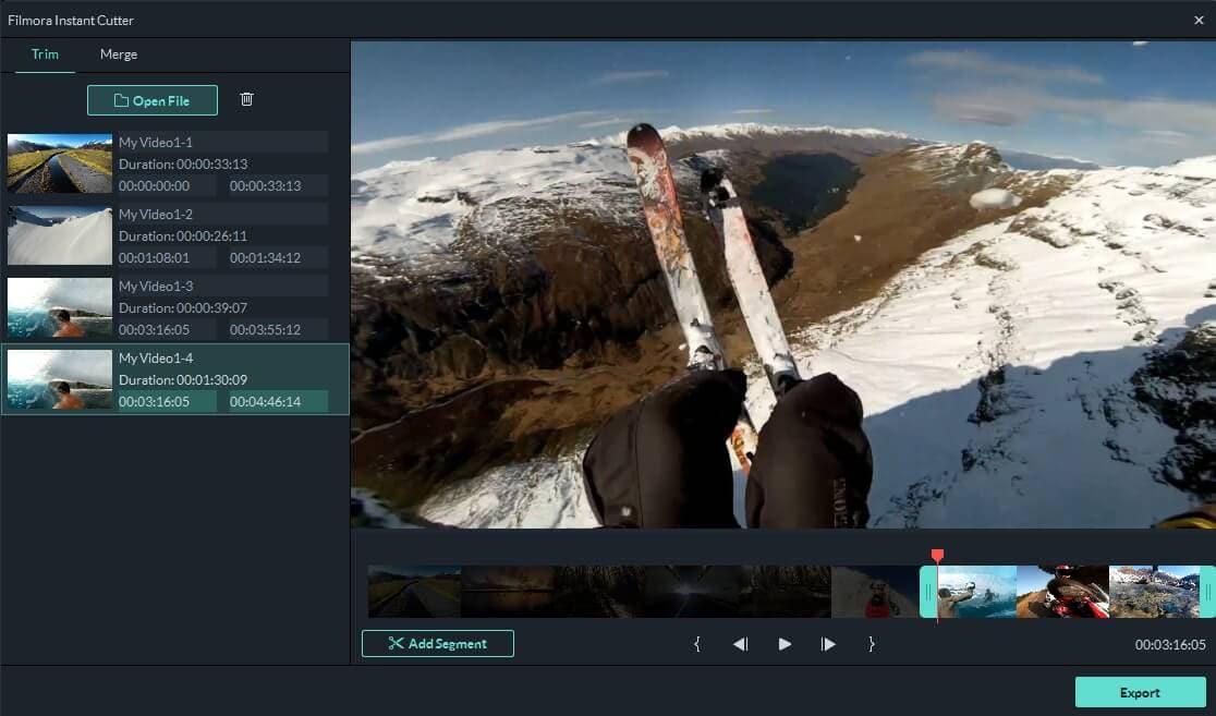Use a ferramenta de corte instantâneo para dividir o vídeo