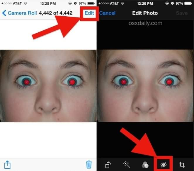 iPhone Red Eye remove