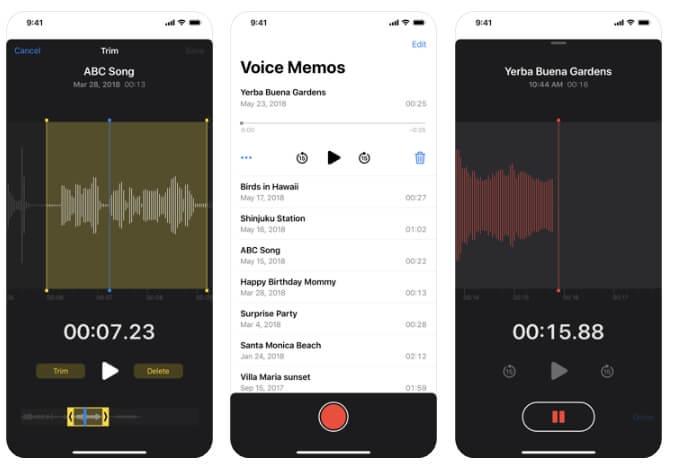 iPhone Built-in Voice Memos App