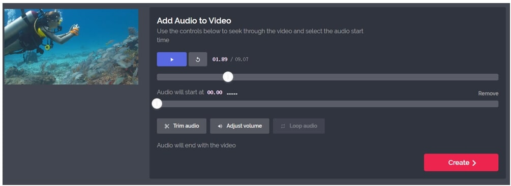 kapwing add audio to video page