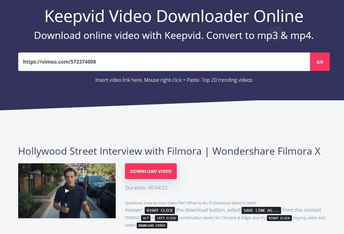 download Vimeo video online with   Keepvid Video Downloader