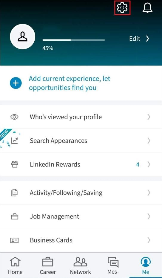 linkedin android setting