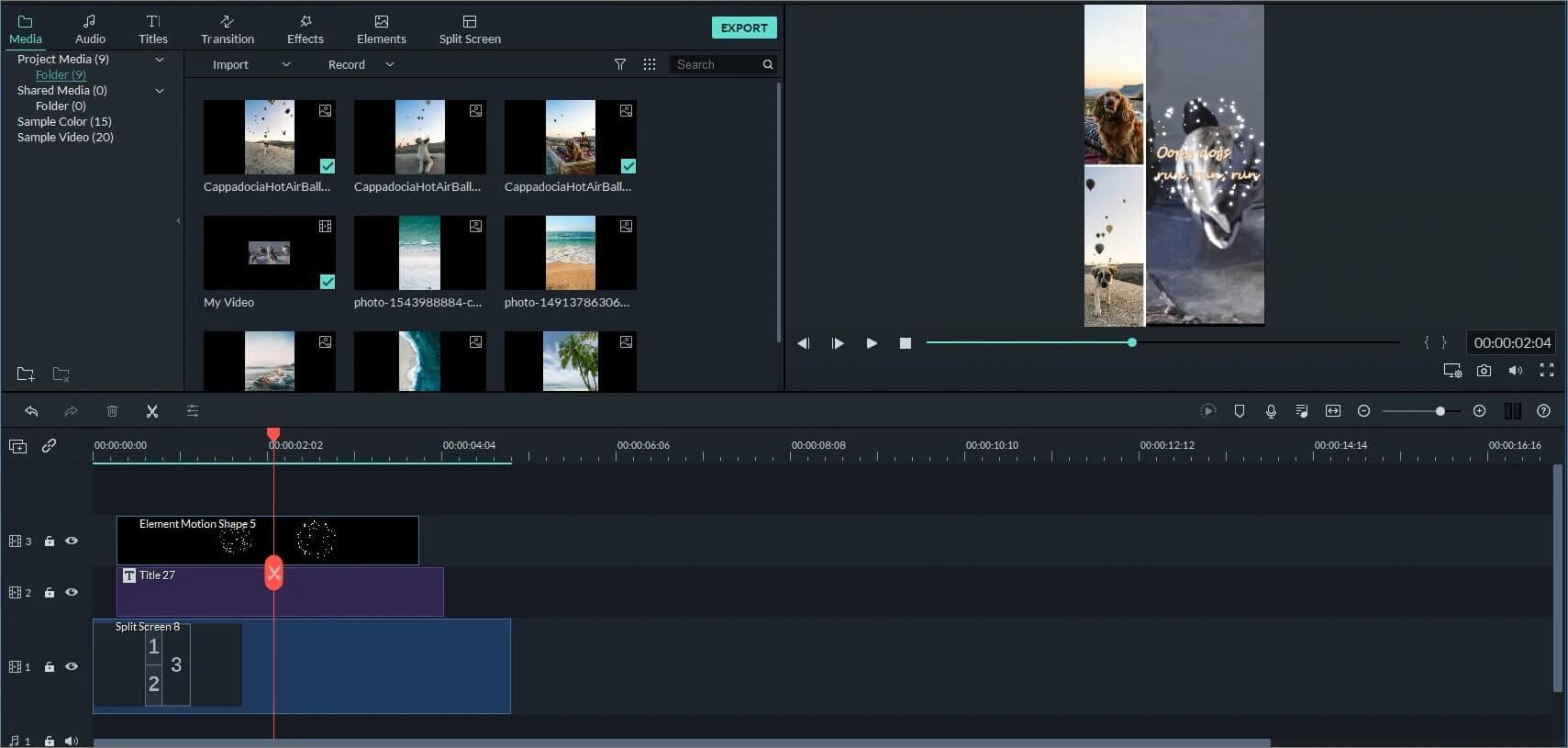 Filmora9 Reaktionsvideos mit Split-Screen-Voreinstellungen und -Elementen erstellen