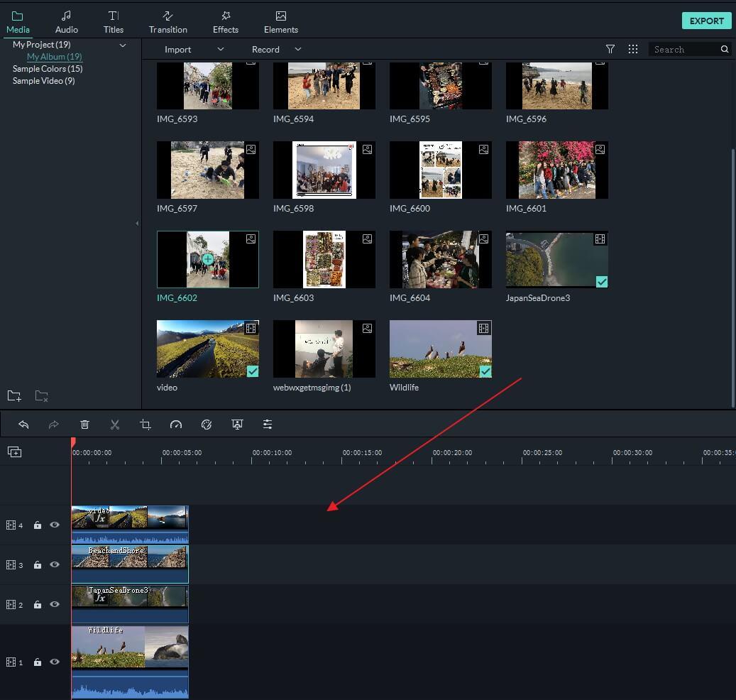 Filmora9 Making Split Screen without Presets