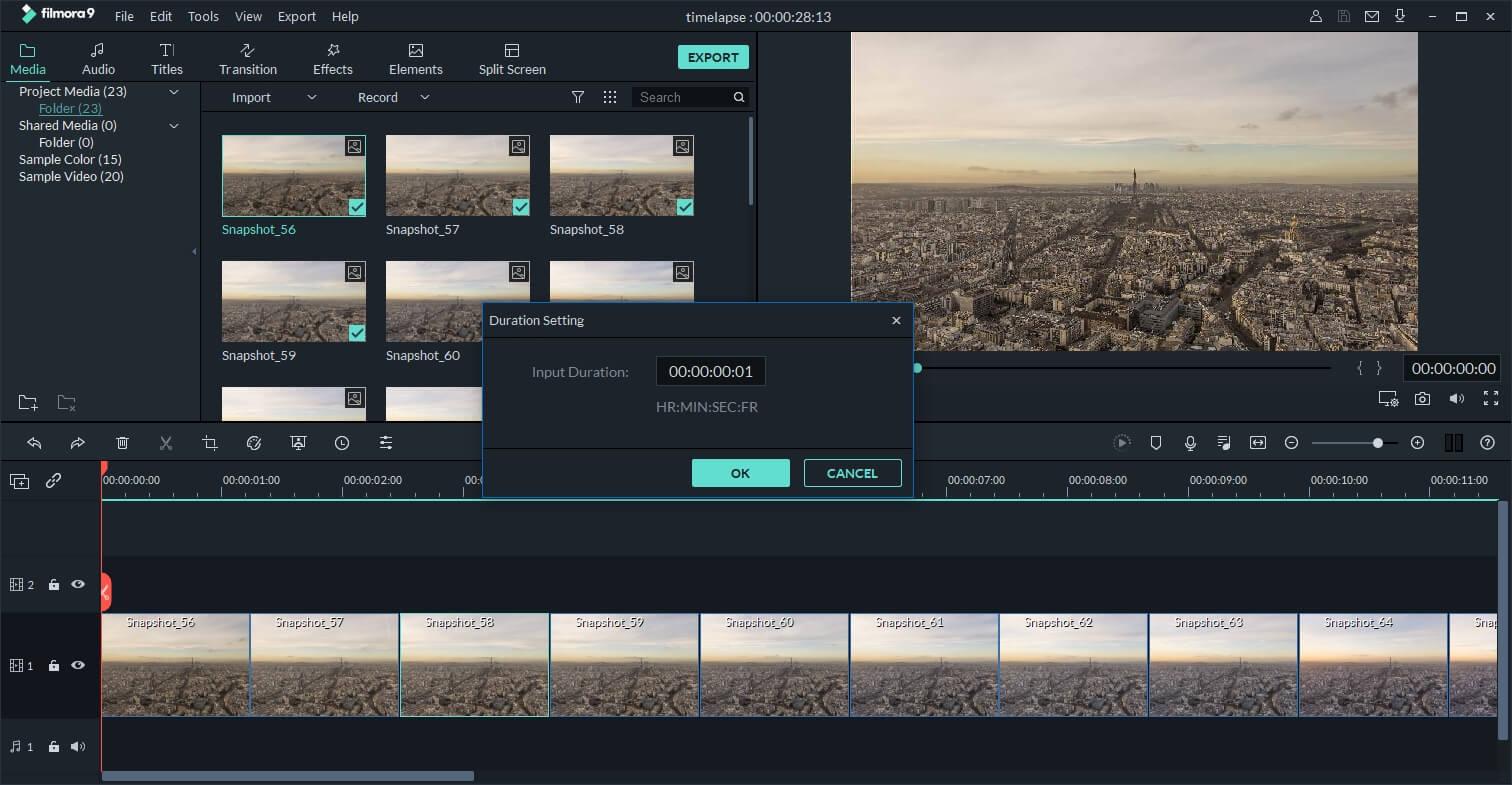 Filmora9 Timelapse video making