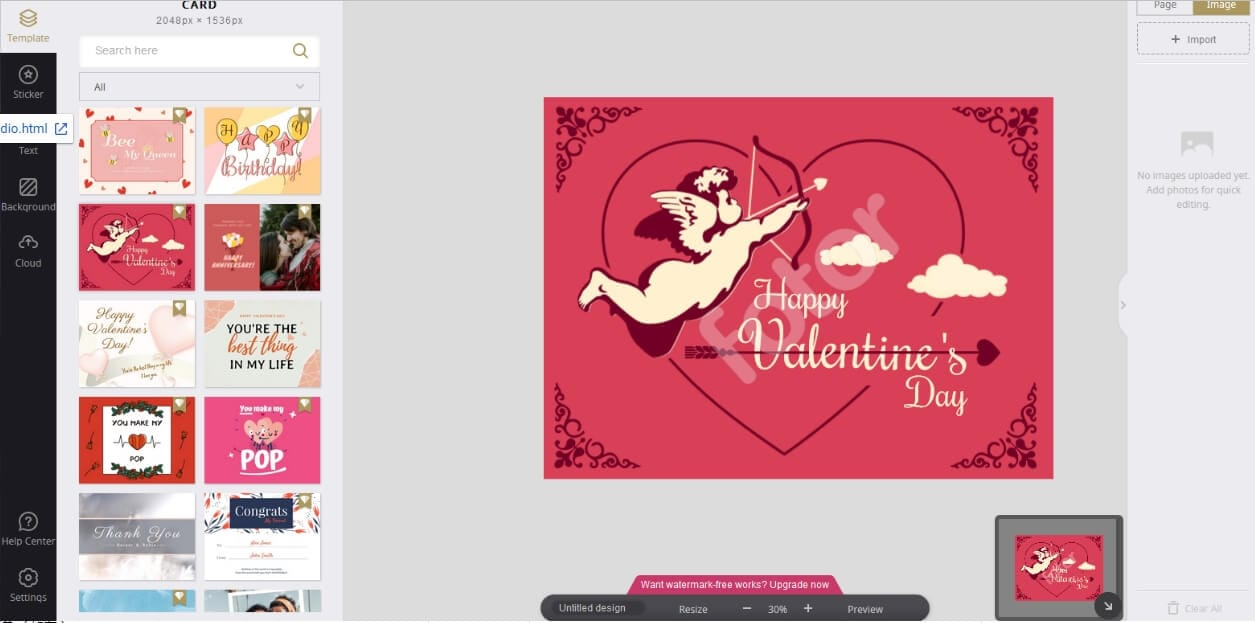 Fotor Valentine's Day Card  Maker Interface