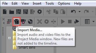 Import media clips into Vegas Pro