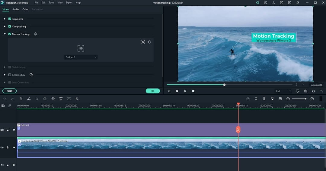 Filmora Motion Tracking  - Text
