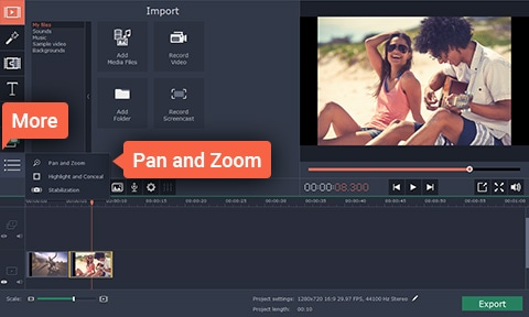 Movavi Video Editor Pan and Zoom