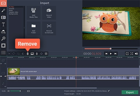 Movavi Video Editor Remove Audio