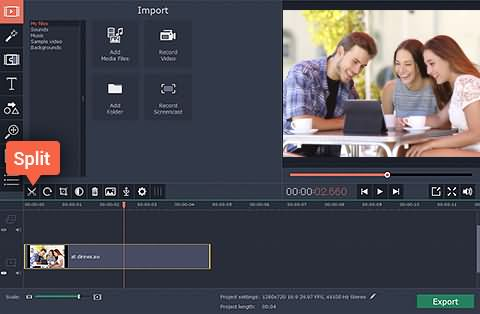 Movavi Video Editor Split and Cut