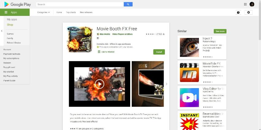 action movie  video effects apps for  Andorid - Movie Booth FX Free