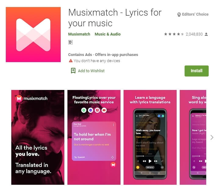 MusiXmatch - Lyrics for your music for Android