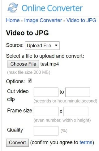 Online-Convert video to JPG