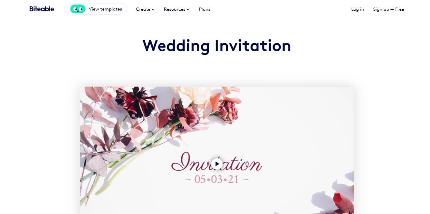Biteable online wedding invitation