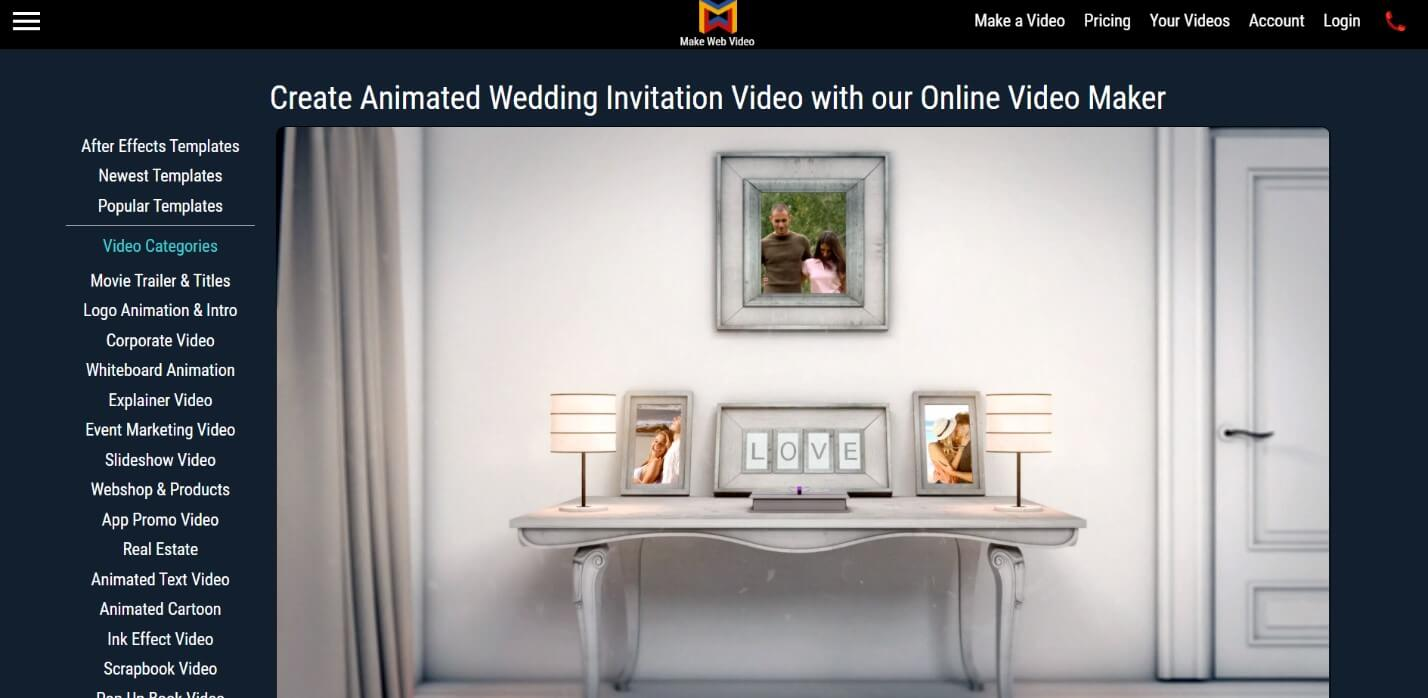 makewebvideo online wedding invitation video maker