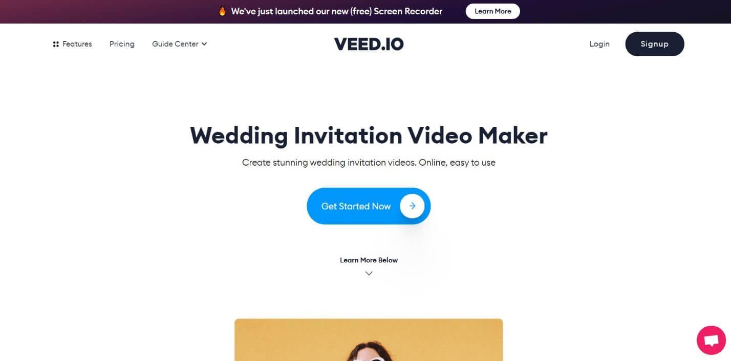 Veed.io online wedding invitation video maker