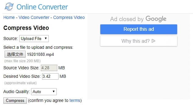 Compress WebM with onlineconverter