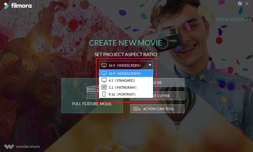 choose aspect ratio
