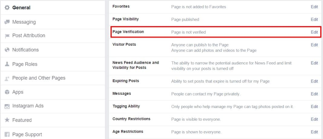 Fcebook page verifiation