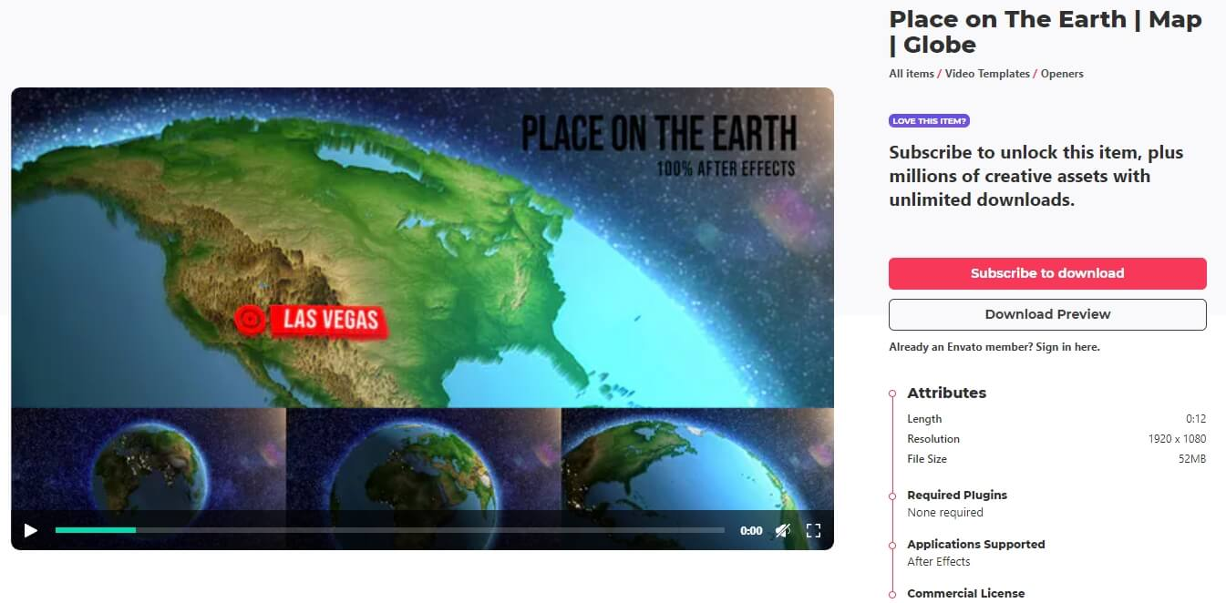 After Effects Templates -  Place on Earth