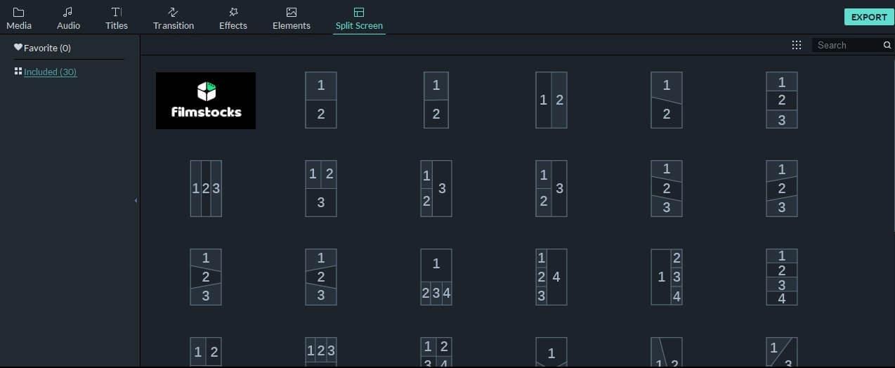Filmora9 Voreinstellungen für den geteilten Bildschirm im Hochformat