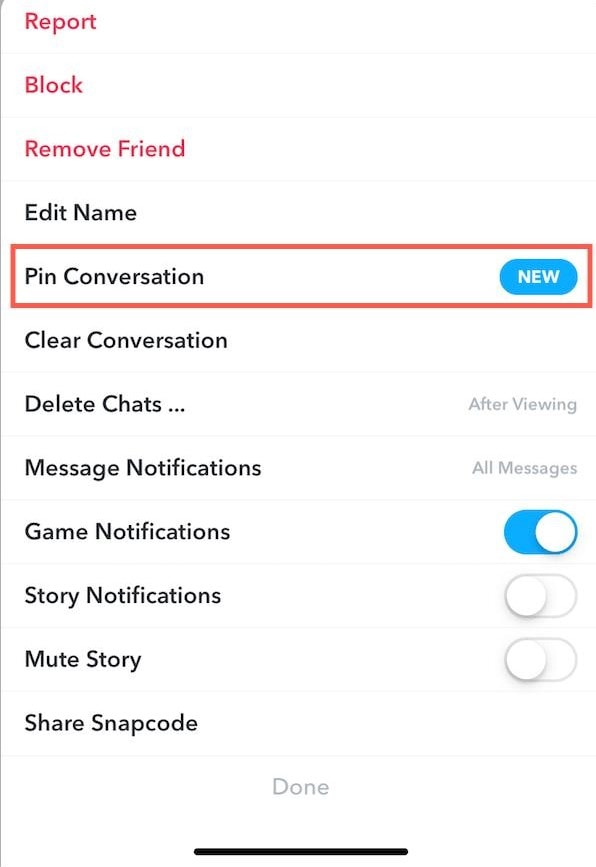 Press Pin Conversation Snapchat