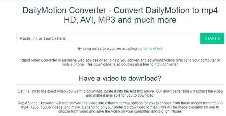 RapidConverter online video converter