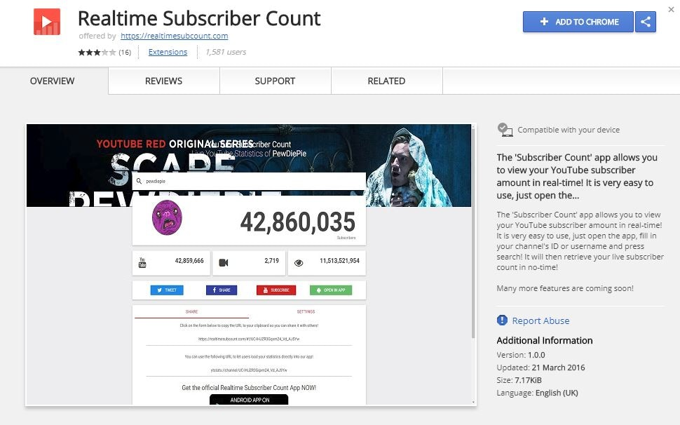 Realtime Subscriber Count