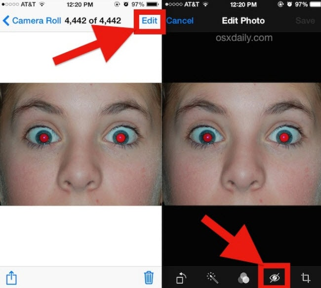 how to remove red eye from photos on iphone