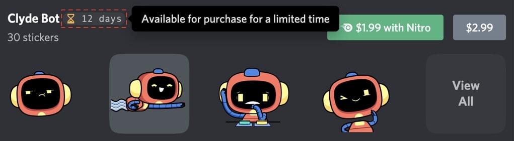 Días restantes de Discord Stickers
