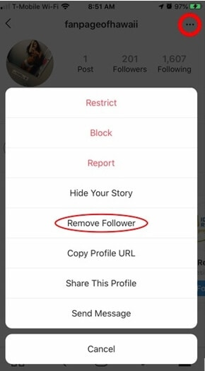 Click on the three dots then select remove follower