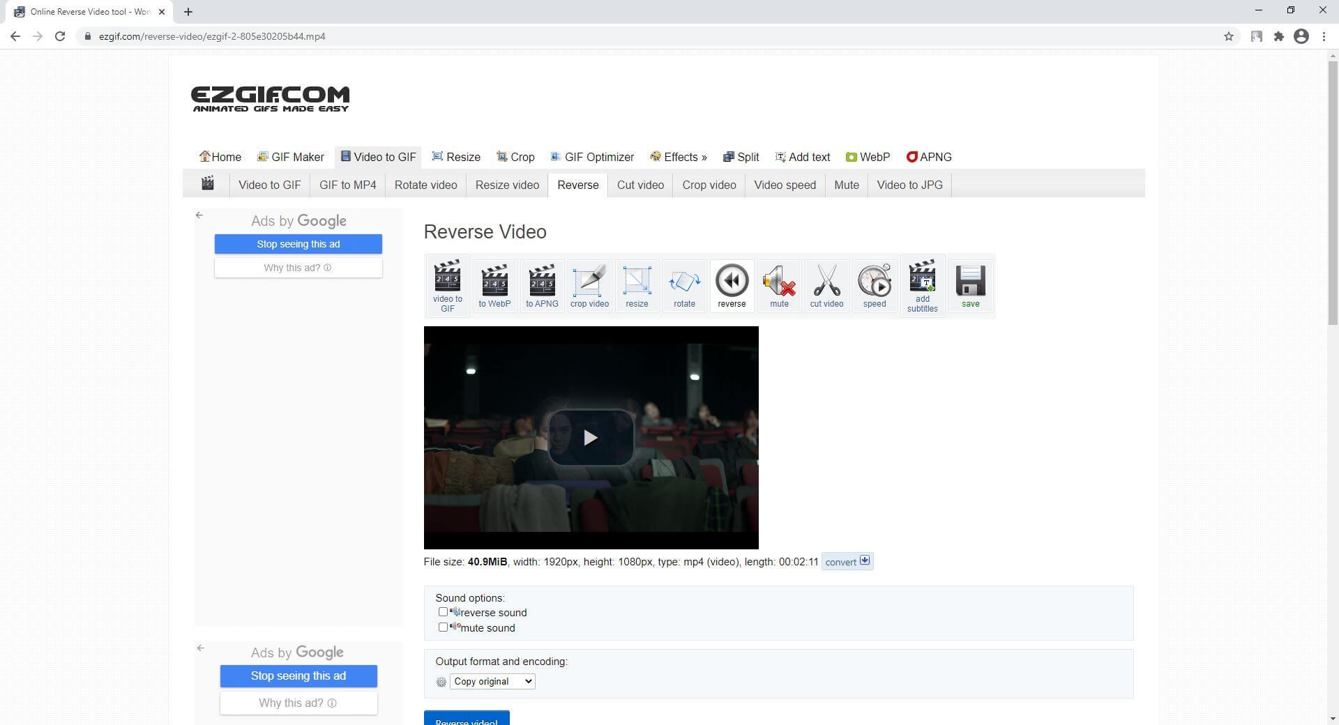 YouTube Videos online rückwärts abspielen - EZGIF