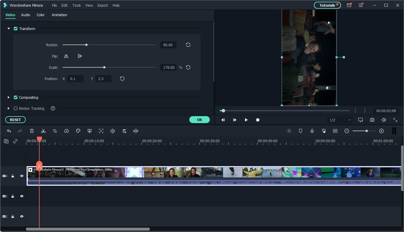 Filmora  convert YouTube to IGTV with transform