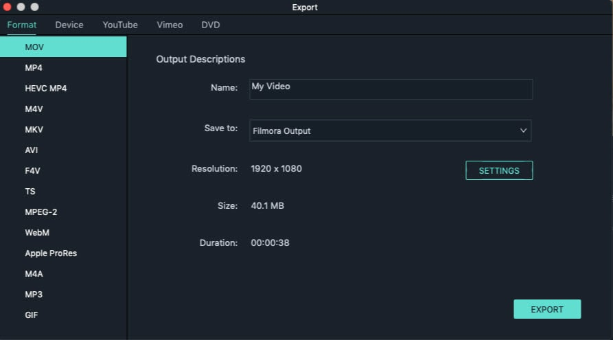 Video am Mac zuschneiden Schritt 3: zugeschnittene Videodatei speichern