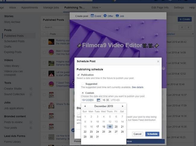 Facebook-Post einplanen Schritt