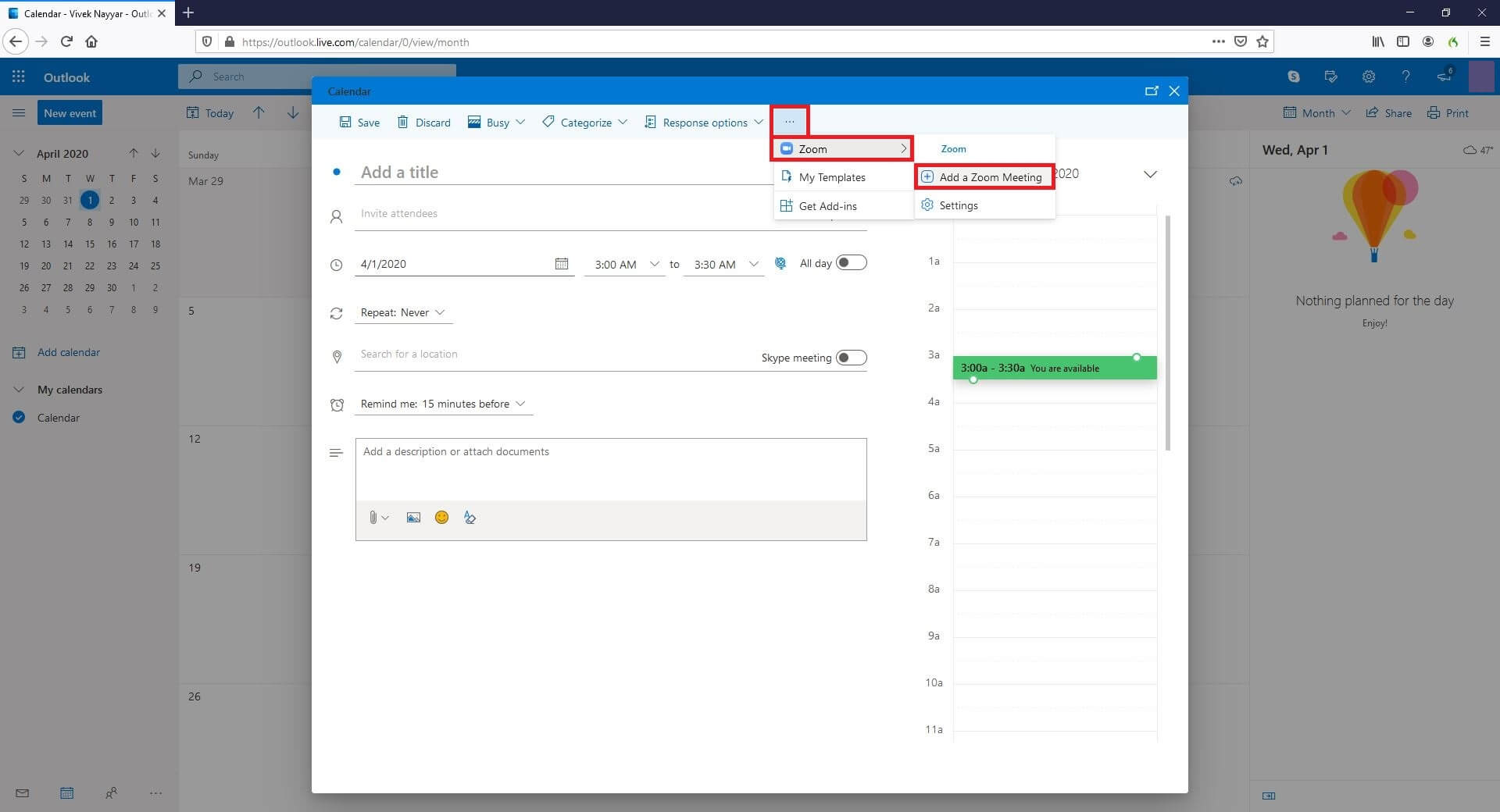 Schedule Zoom Meeting in Outlook
