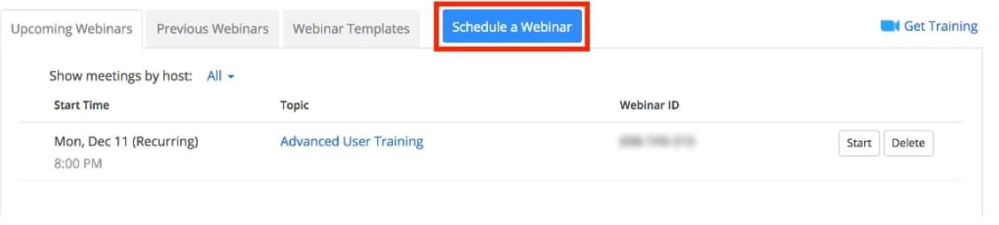 Zoom Schedule Webinar