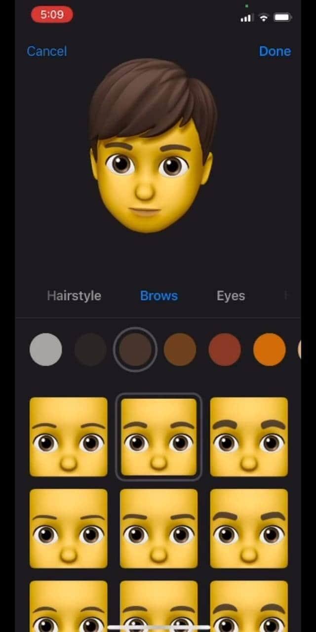 Select Memoji Brow Style