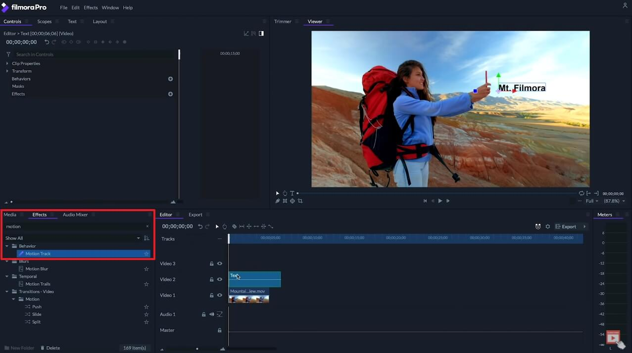 FilmoraPro Motion Tracking – Text hinzufügen