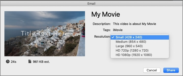 iMovie send large video in small resolution via email