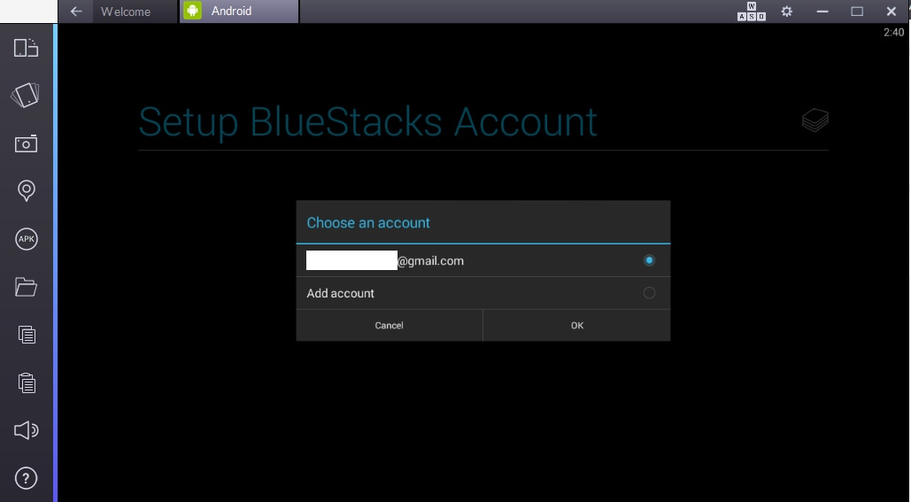 set Bluestacks account