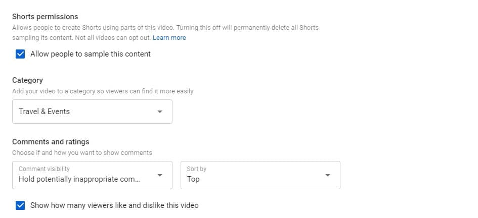 YouTube comment  and rating settings