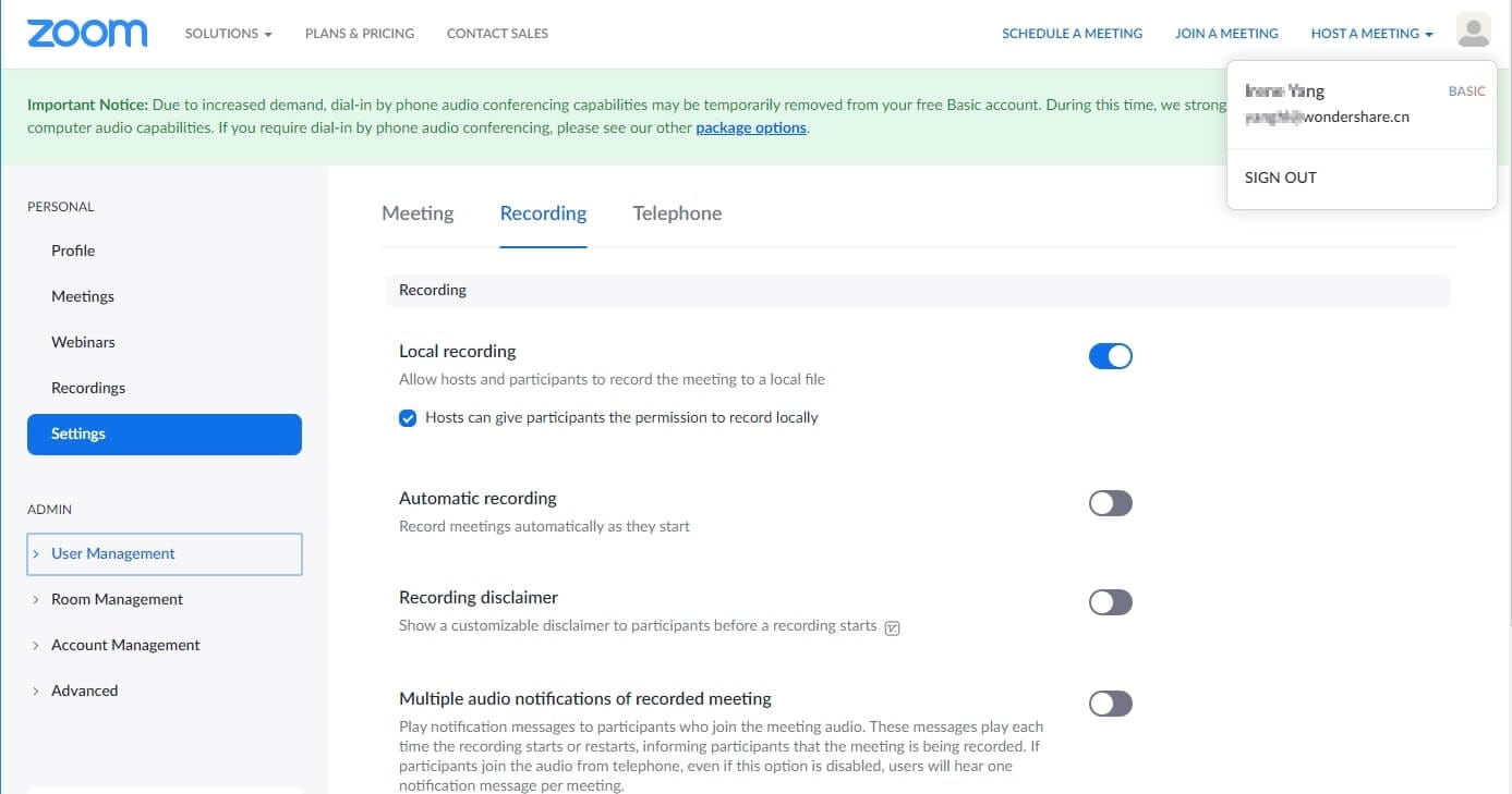 record a zoom meeting settings