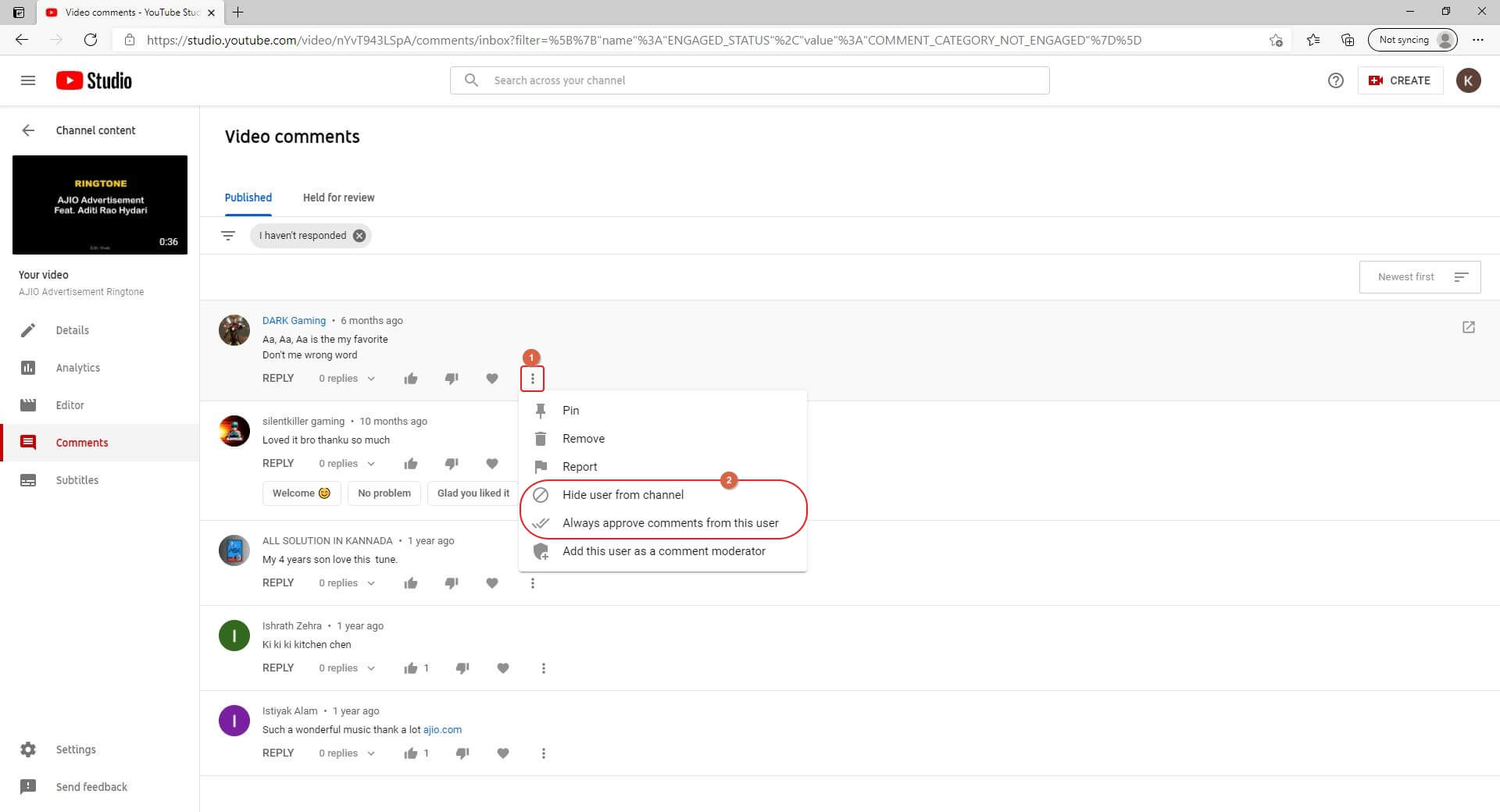 Find  YouTube Comments List
