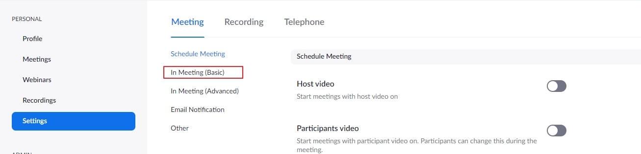 Zoom Meeting Basic In meeting settings